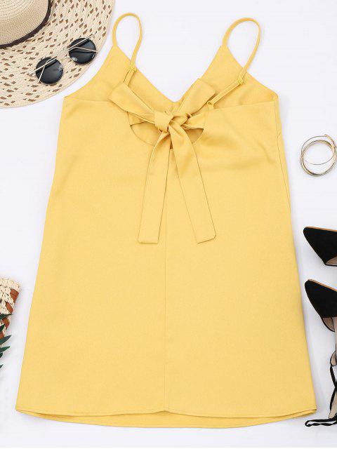 chic Slip Bowknot Cut Out Mini Dress - YELLOW 2XL Mobile