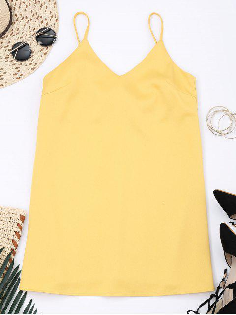 sale Slip Bowknot Cut Out Mini Dress - YELLOW M Mobile