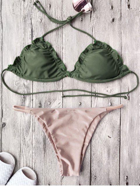 women's Frilled Padded String Bikini Set - PINK M Mobile