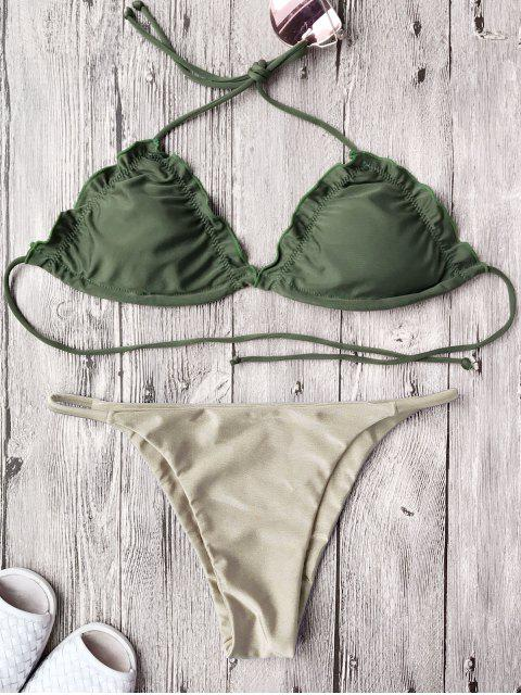 best Frilled Padded String Bikini Set - KHAKI L Mobile