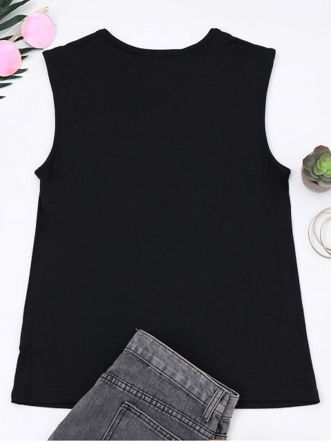 shop Cotton Letter Totem Tank Top - BLACK M Mobile