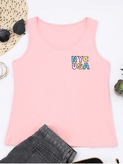 trendy Printed Letter Embroidered Cotton Tank Top - PINK XL Mobile