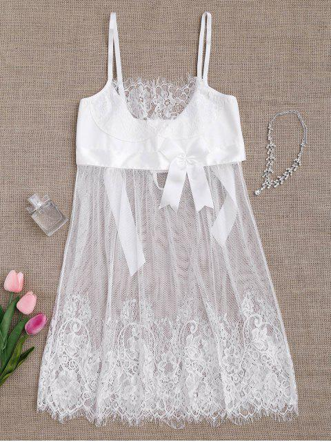 new Mesh Bowknot Lace Babydoll with Thong Panties - WHITE S Mobile