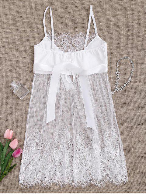 Babydoll en dentelle en dentelle à manches courtes avec culotte - Blanc S Mobile