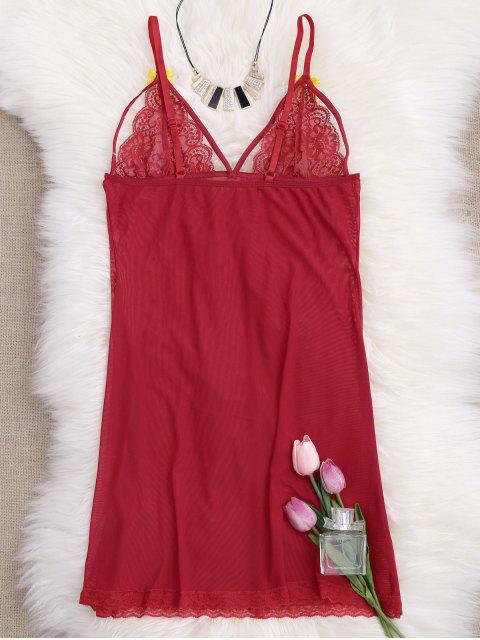 chic Mesh Lace Panel Babydoll with Thong Panties - RED M Mobile