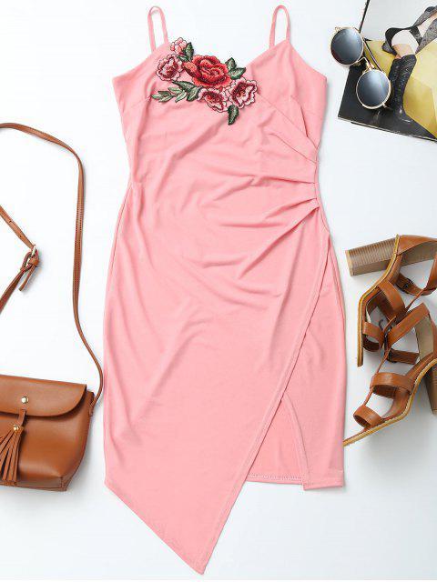 latest Floral Patched Asymmetrical Surplice Dress - PINK L Mobile