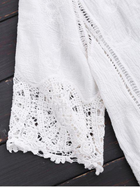 fashion Open Front Lace Beach Top - WHITE ONE SIZE Mobile