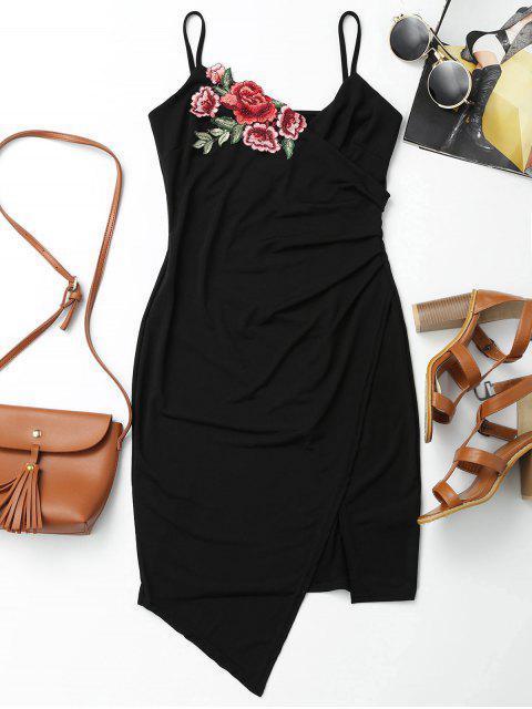 affordable Floral Patched Asymmetrical Surplice Dress - BLACK L Mobile