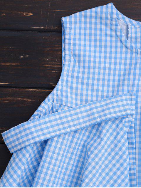 Top à carreaux asymétrique sans manches - Bleu L Mobile