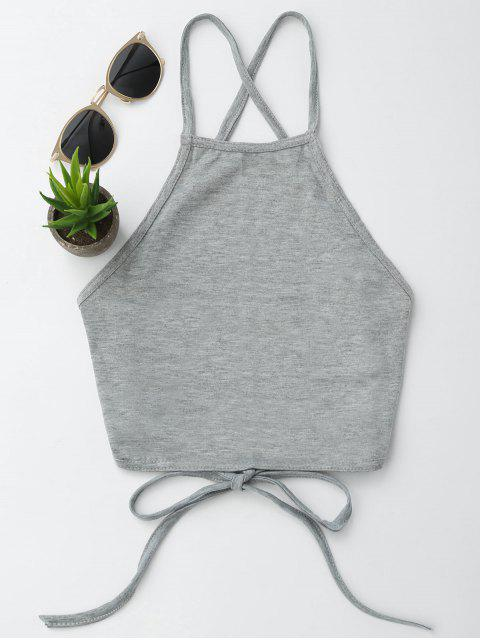 online Open Back Cropped Tank Top - GRAY L Mobile