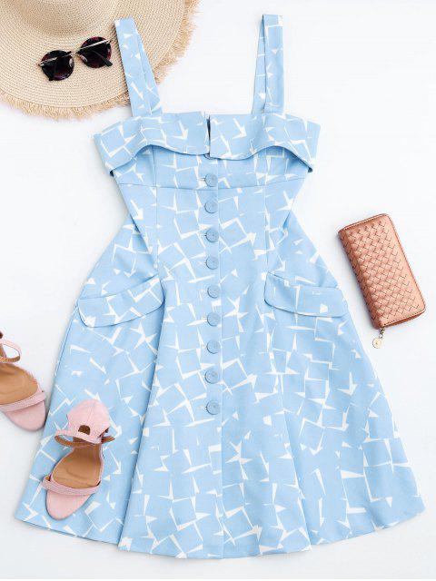 women Bottun Up Geometric A-Line Dress - LIGHT BLUE M Mobile
