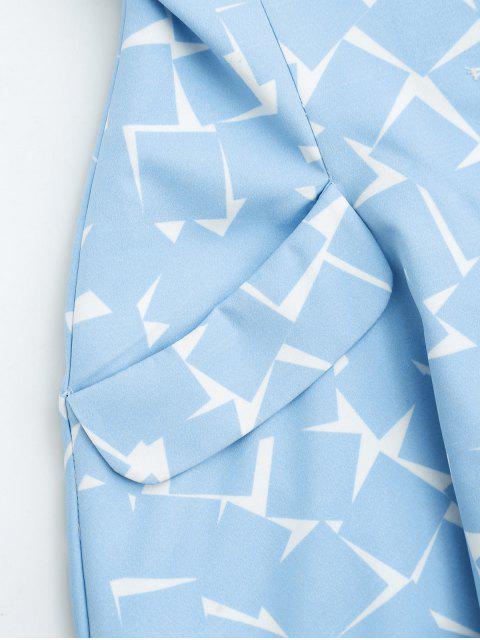 women's Bottun Up Geometric A-Line Dress - LIGHT BLUE S Mobile