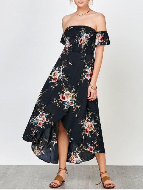 best Floral Print Smocked Off The Shoulder Dress - CADETBLUE 2XL Mobile
