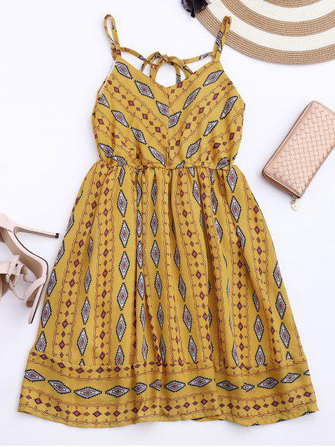 Vestido de Sol de Gasa con Tirantes Finos con Rombos de Colores - Amarillo Única Talla Mobile