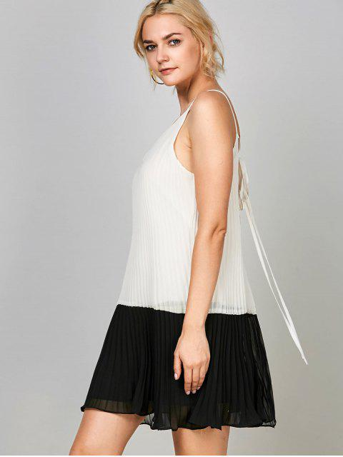 trendy Open Back Chiffon Pleated Slip Dress - WHITE AND BLACK M Mobile
