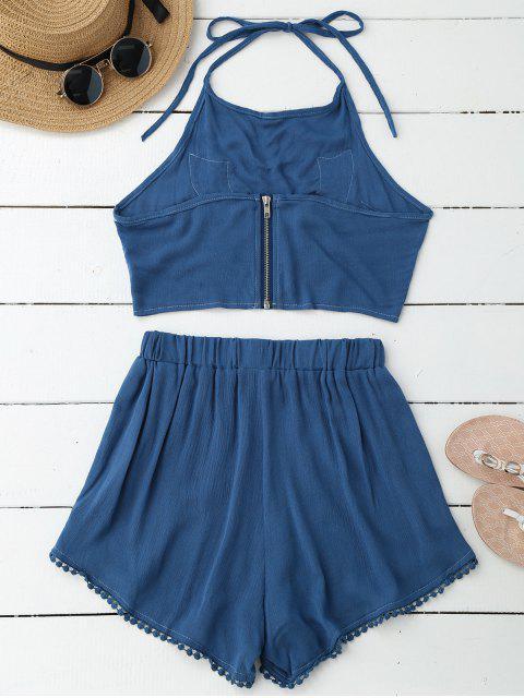 Haut court floral halter en dentelle avec shorts - Bleu S Mobile