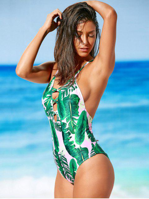 chic Palm Print Backless Plunge Padded One Piece Bathing Suit - LIGHT PINK L Mobile