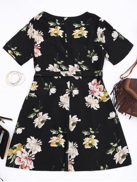 outfits Mini Floral Wrap Dress - FLORAL M Mobile