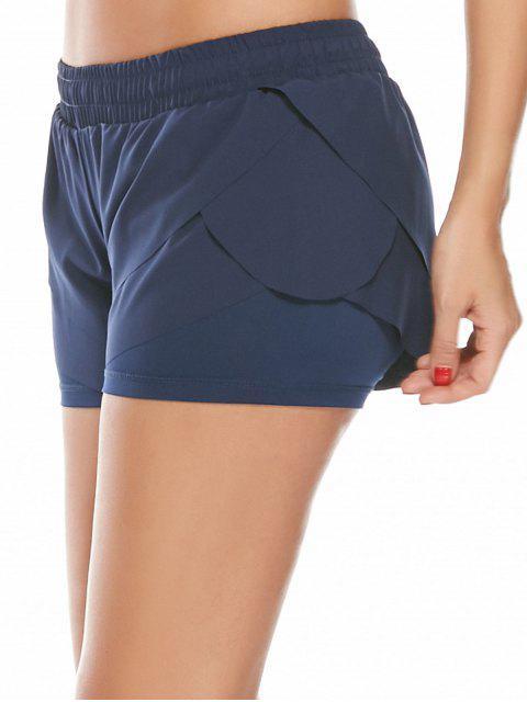 Shorts de Course Gym à Taille Élastique en Couches - Bleu Foncé L Mobile