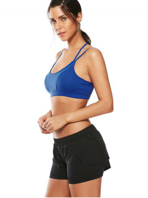women's Strappy Workout Padded Bra - BLUE L Mobile