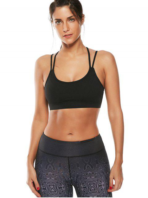 buy Strappy Workout Padded Bra - BLACK S Mobile