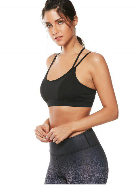 womens Strappy Workout Padded Bra - BLACK M Mobile