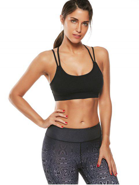 women Strappy Workout Padded Bra - BLACK L Mobile