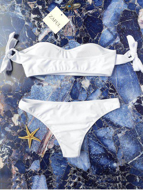 Bikinis aux épaules dénudées à manches lacées - Blanc S Mobile
