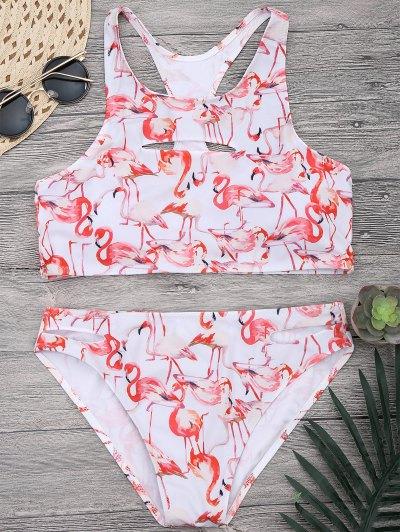 Image of Flamingo Print Cut Out High Neck Bikini Set