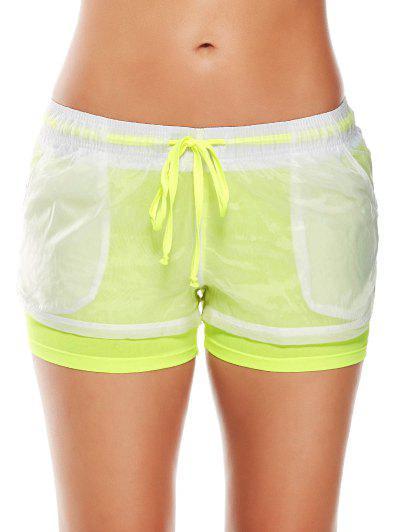 Image of Layer Drawstring Sports Shorts with Pockets