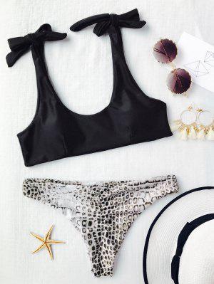 Tie Shoulder Croc Bikini Top And Bottoms - Black S