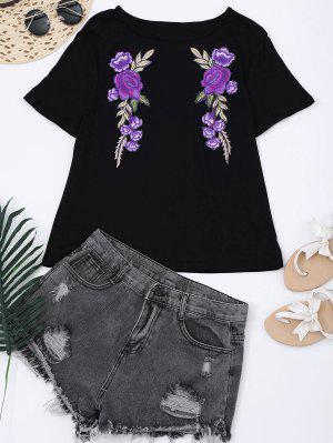 Camiseta Con Remiendo Floral Del Algodón - Negro Xl