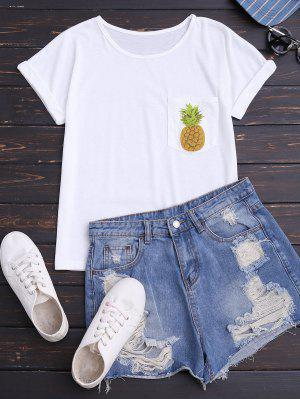 Piña Camiseta De Algodón Con Bolsillo - Blanco S