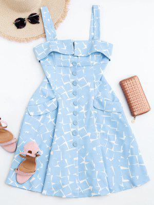 Vestido En A Línea Con Estampado Geométrico Con Botones - Azul Claro L
