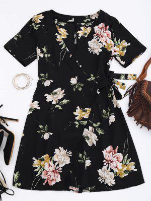Mini Robe Enroulé à Fleurs - Floral S