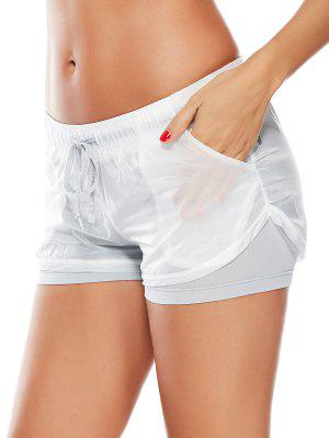Layer Drawstring Sports Shorts with Pockets