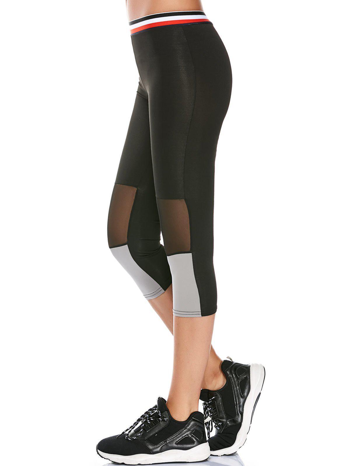Striped Trim Mesh Panel Capri Workout Leggings 213070401