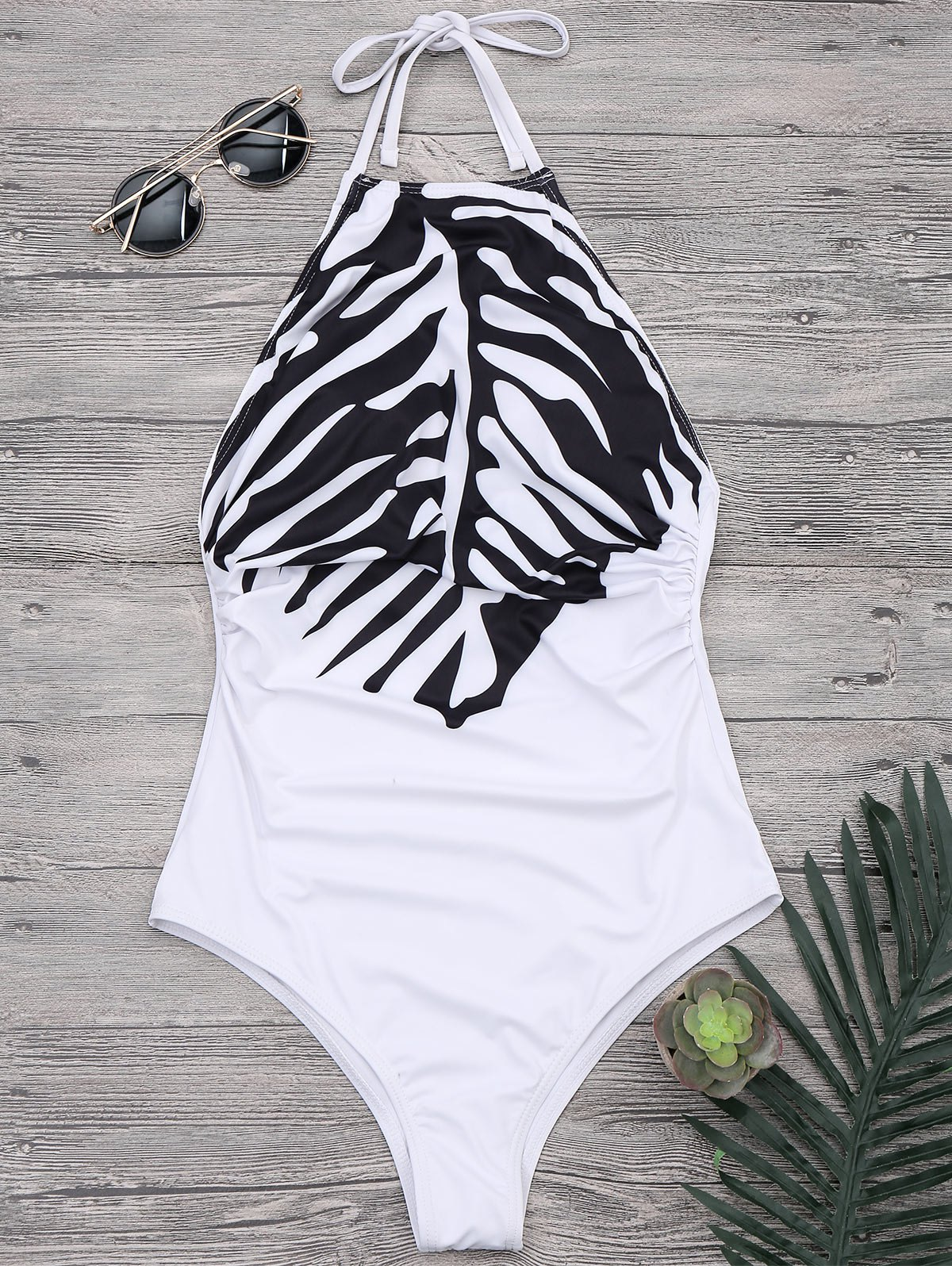 Ruched High Neck Halter One Piece Swimsuit 213436001