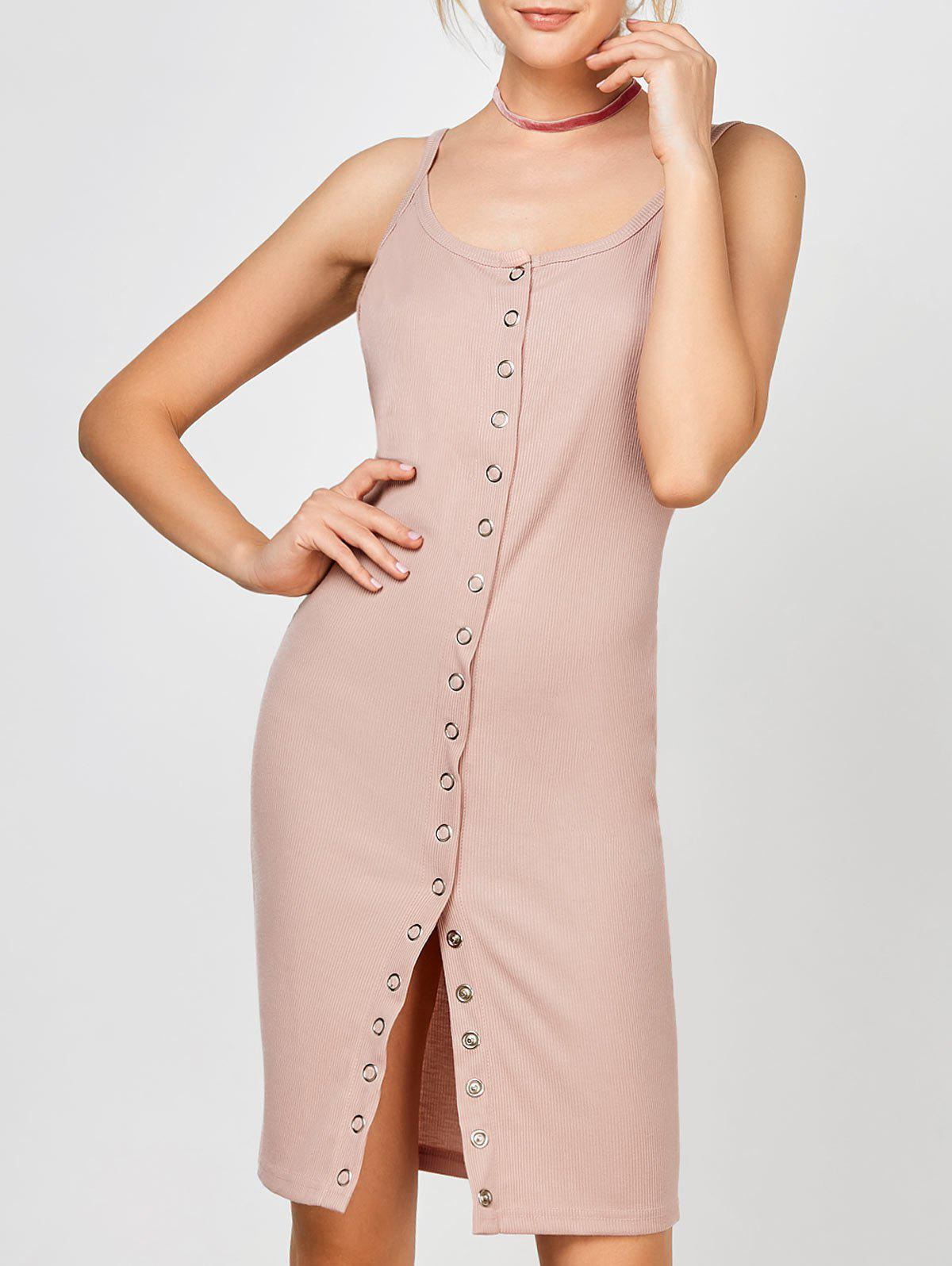 Button Up Ribbed Bodycon Slip Dress 212814406