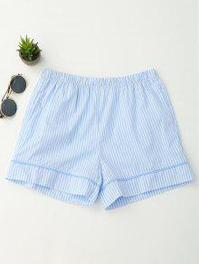 Elastic Waist Pockets Striped Shorts - Stripe S