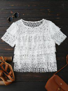 Hollow Out Tiered Crochet Lace Top - White S