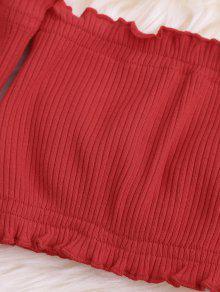 Hombros De Aire Blusa Al Volantes Corta Rojo Con HPxqpw4nq