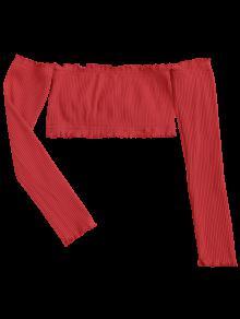 De Con Aire Rojo Al Corta Blusa Volantes Hombros vwqnF5WZp