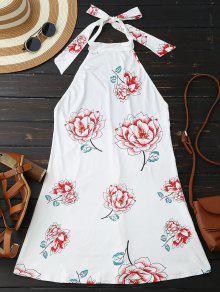 فستان رسن طباعة الأزهار مفتوح الظهر - أبيض L
