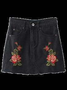Cutoffs Rose Embroidered Denim Skirt - Black L