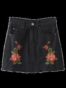 Cutoffs Rose Embroidered Denim Skirt - Black S