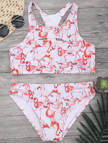 Flamingo Cutout Racerback High Neck Bikini Set - White M