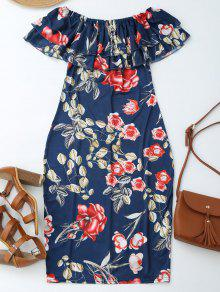 Off Shoulder Ruffle Floral Sheath Dress - Floral Xl