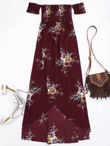 فستان الانقسام زهري شيريد الخصر ماكسي توب - عنابي اللون L
