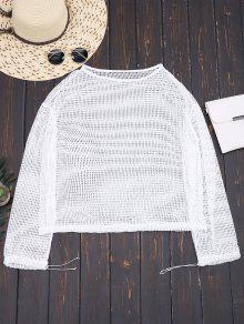 Laser Cut Long Sleeve Top - White S